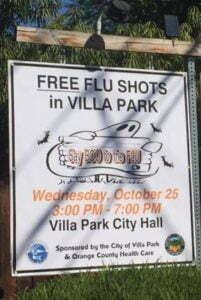 Villa Park free flu shot sign