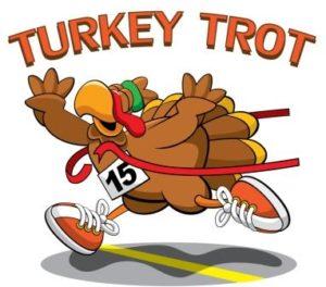 A turkey trotting through the finish line