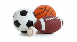 Soccer ball, baseball, basketball, football