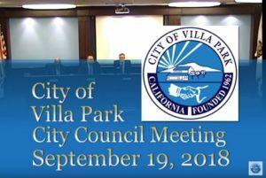 Villa Park City Council Meeting 2018-09-19